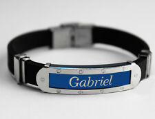 GABRIEL - Mens Silicone & Blue Name Plate Engraved Bracelet - Gifts For Him
