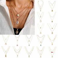 Multi-layer Boho Women Long Chain Pendant Crystal Choker Necklace Jewelry Gift