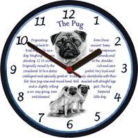 Pug Large Wall Clock - Dog Breed Origins Animal Facts