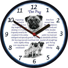 Pug Large Wall Clock - Dog Breed Origins Animal Facts