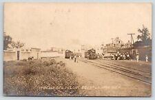 Cuautla Mor Mexico~Crowd Greets Narrow Gauge Railroad Train~1908 RPPC
