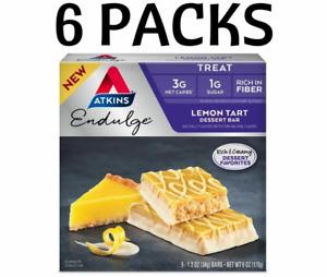 6 Packs -Atkins Endulge Desert Bar - Lemon Tart KETO PALEO  DIABETIC Weight loss