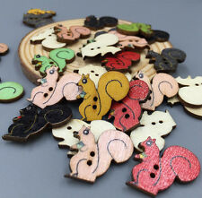 DIY 50X Wooden Sewing Squirrels Buttons Scrapbooking Decoration 2-Holes 22mm