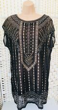 BNWT Boohoo Black Sheer 1920s Style Art Deco Beach/Tunic Dress Size 12
