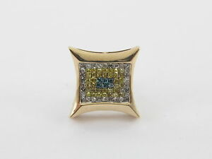 14K Yellow Gold White Blue Canary Diamond Men's Single Stud  Earring 0.50 carat