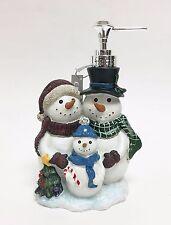 NEW CRISCILL WHITE+GREEN+RED SNOW FAMILY RESIN BATHROOM SOAP,LOTION DISPENSER