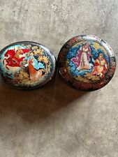 Vintage Russian Set Of 2 Porcelin Music Boxes 1991