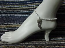 anklet stretchy silver beach cat Mermaid Kitty alloy charm ankle bracelet beads