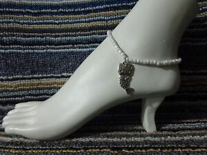 KITTY alloy charm ankle bracelet beads anklet stretchy silver beach cat MERMAID
