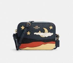 💚 COACH Mini Camera Bag Crossbody Postcard Applique Moon Stars Sky Night Desert