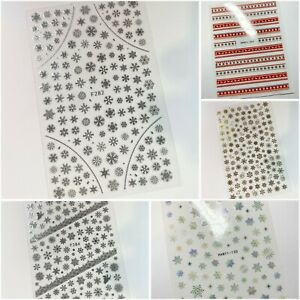 Nail Art Stickers Christmas Snowflake Bauble White Gold Silver Self Adhesive
