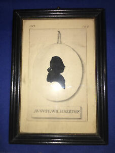 Antique German Painted Silhouette Memorial of August Wilhelm Bertram RARE C.1788