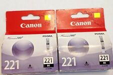 2 New Genuine Canon 221 CLI-221BK Black Ink Cartridge PIxma ip3600 4600 MP540 +