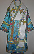 Orthodox Bishop vestments Blue Gold Floral  Metallic brocade