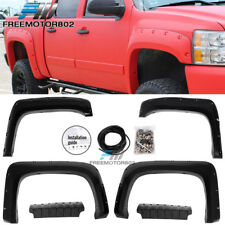 Fits 07-14 Chevy Silverado Pocket Rivet Style Fender Flares ABS Textured Black