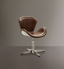 Acme Brancaster Accent Chair with Swivel in Retro Brown and Aluminum 96554