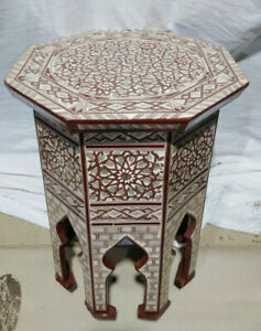 "Egyptian Moroccan Style Side End Table Beech wood Inlaid Mother of Pearl (16"")"