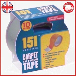 DOUBLE SIDED CARPET TO FLOOR TAPE 10M X 48MM Adhesive Vinyl Cork Rugs Fixing