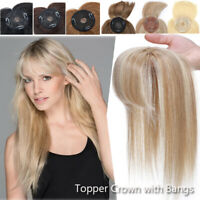 100% Women Remy Human Hair Topper Toupee Wig with Bangs Clip In Hairpiece Blonde