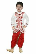 White Sherwani Embroidery Kurta Dhoti Pant Set Party Kids Wedding Wear