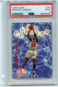 "1998-99 FLEER #142 MICHAEL JORDAN ""PLUS FACTOR"", CHICAGO BULLS - PSA 9 (3487)"