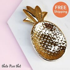 Gold Pineapple Trinket Jewellery Dish Fun Gift Vintage Ring Necklace Cute Copper