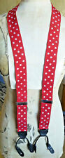 Fabulous Vintage Style Braces  - Red & White Polka Dot Leather End/Y Back/Button