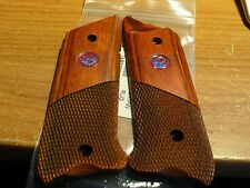 RUGER MK II III GRIPS W/FACTORY MEDALLIONS COCOBOLO WOOD 1/2 SMOOTH 1/2 CHECKERD