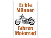 Genuino Hombre Conducir Moto Letrero de Metal Arqueado Cartel Lata 20 X 30Cm