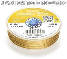 "GRIFFIN GOLD PLATED STEEL BEADING JEWELRY WIRE .024"" / 0.60mm 1000 FT. 19 STRAND"
