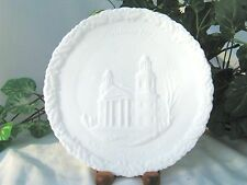 Fenton ~SALE~ 1972 Christmas in America Plate THE TWO HORNED CHURCH White Satin