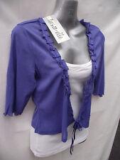 BNWT Womens Sz 12 Person-elle Brand Cute Purple Tie Front Mesh Shrug Top RRP$50