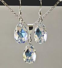 Crystal AB PERA Ciondolo Collana E Orecchini Set realizzati con elementi swarovski