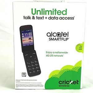 Cricket Wireless Cell Phone Alcatel Smartflip 4G LTE Unlimited Talk Text Black