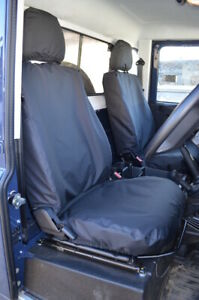 Black Tailored Waterproof Seat Covers Front 2 for Land Rover Defender 2007-2015