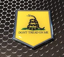 "DONT TREAD ON ME CHROME Emblem Proud Police Flag Car 3D Domed Sticker 2""x 2.25"""