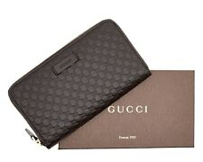 Gucci Zip Around Wallet Micro Guccissima Brown Leather New