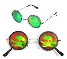 HOLOGRAPHIC SKULL AND CROSS BONES SUNGLASSES hologram 3-D  glasses trippy skulls