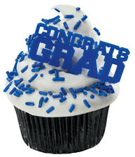 SET OF 23 Congrats Grad Blue Cupcake Picks Cake Toppers Decorations Graduation