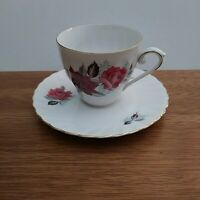 Vintage Jaeger Germany Bavaria Teacup & Saucer with Purple and Pink Roses