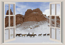 Cowboy &  Horses Snow Window View Repositionable Color Wall Sticker Wall Mural