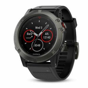 New Garmin Fenix 5X Sapphire Slate Gray GPS Smartwatch 010-01733-00 + More