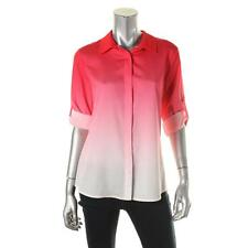Calvin Klein 8140 Womens Red Ombre Collared Button Down Blouse Top XL BHFO