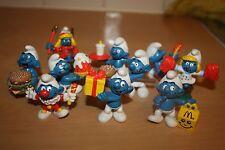 Complete Set UK Promo Mcdonalds Smurf Set Schtroumpfe Schlumpfe Puffi