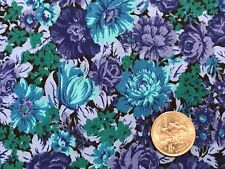 """Peter Pan Blue Aqua Green Floral Cotton Quilt Fabric 55"""" BTHY 1/2yd WASHED"""