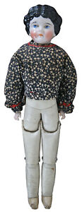 """Antique Victorian Era Kling 189-6 China Head Girl Doll Germany Leather Body 18"""""""