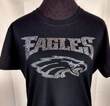 Women's Philadelphia Eagles Rhinestone Football T Shirt Tee Bling Lady