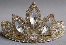 NEW Wedding Pageant Kids Girls Gold Clear oval stone Rhinestone Tiara Haircomb
