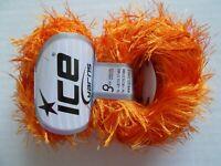 Eyelash yarn by Ice Yarns, Orange,  lot of 2, (81 yds each)