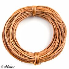 Tan Natural Dye Round Leather Cord 1.5mm 10 meters (11 yards)